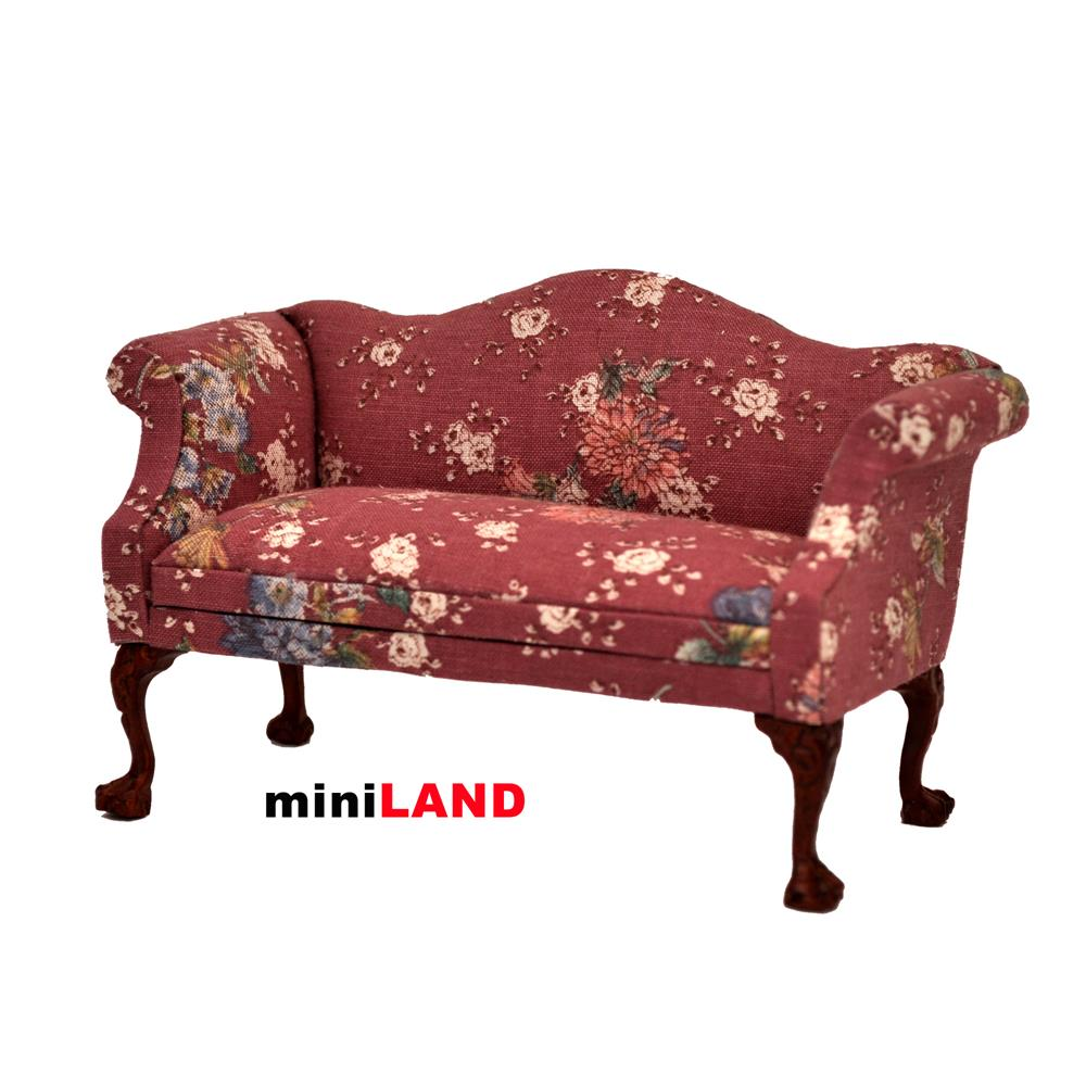 Queen Anne Love Seat Sofa For 1 12 Scale Dollhouse Miniature Wood Flowers