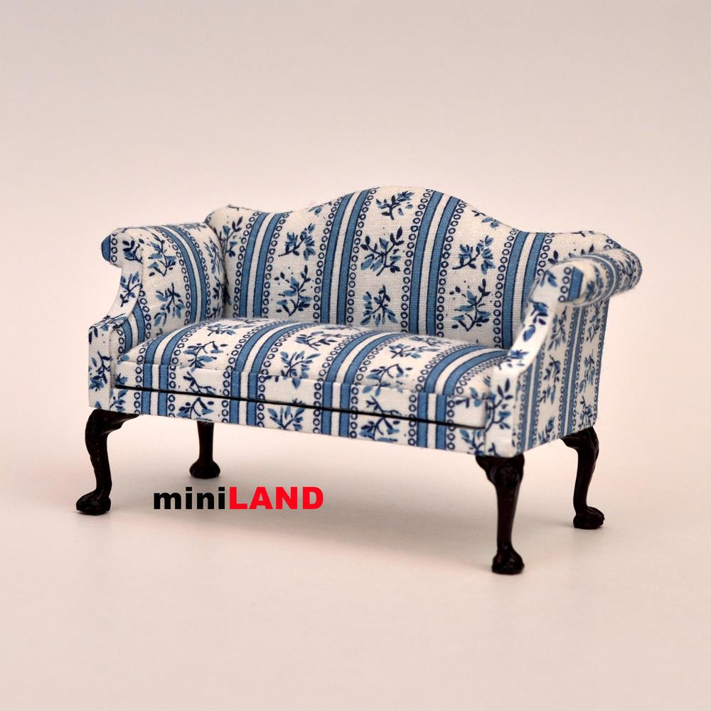Queen Anne Love Seat Sofa For 1 12 Scale Dollhouse Miniature Wood Bl