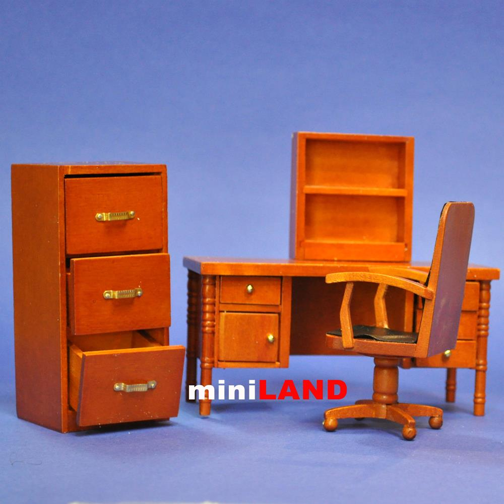 office room economy set 4 pcs wood for dollhouse miniature