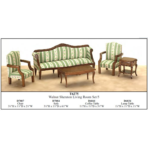 cool 12 scale dollhouse living room set | Economy Set 5pcs SHERATON living room set 1:12 scale ...