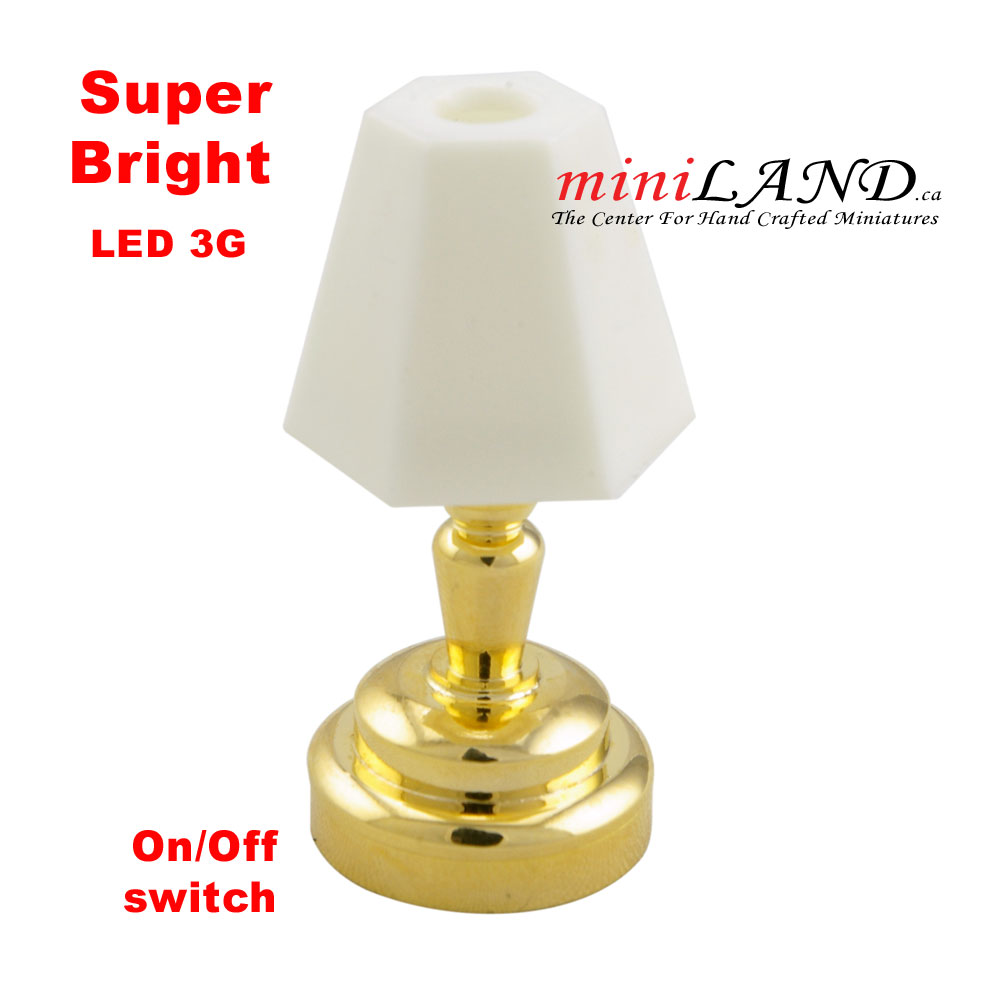 Brass Bedroom Table Lamp Led Super Bright With On Off Switch For 1 12 Dollhouse Miniature