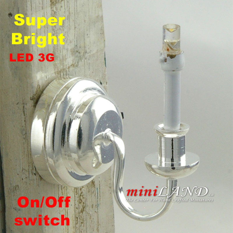 Wall Sconces On Off Switch : Silver Single candle wall sconce light LED Super bright with On/off switch for 1:12 dollhouse ...