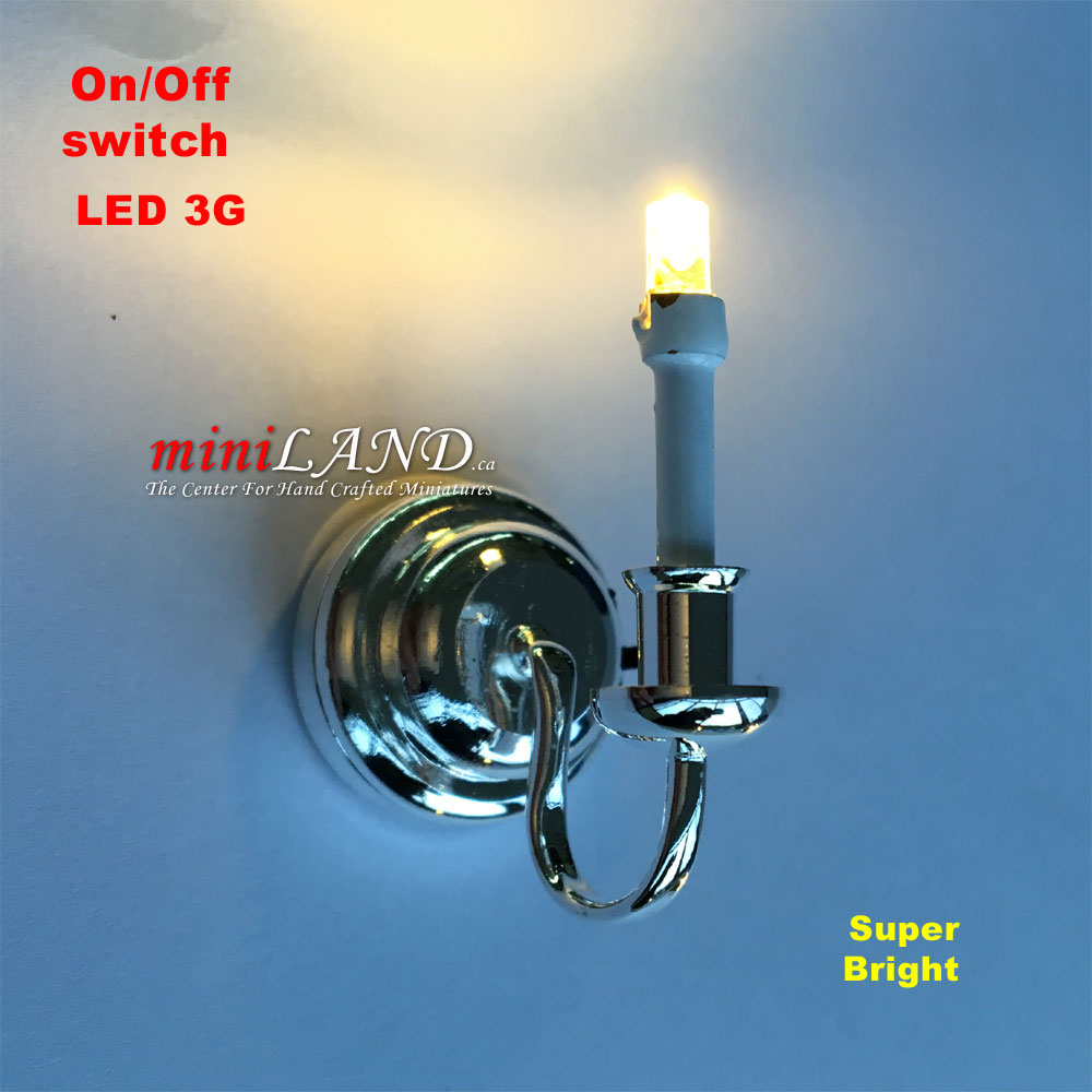 Silver Single candle wall sconce light LED Super bright with On/off switch for 1:12 dollhouse ...