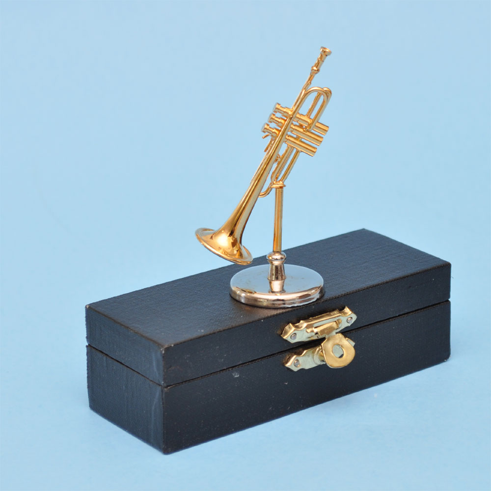 miniature brass trumpet musical instruments on stand with case for dollhouse 2 1 2 long. Black Bedroom Furniture Sets. Home Design Ideas