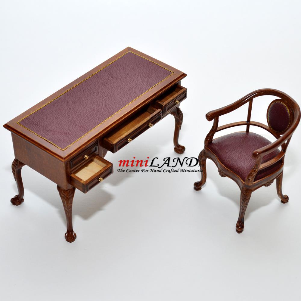 Captain s desk chair quality office set leather top - Quality office desk ...