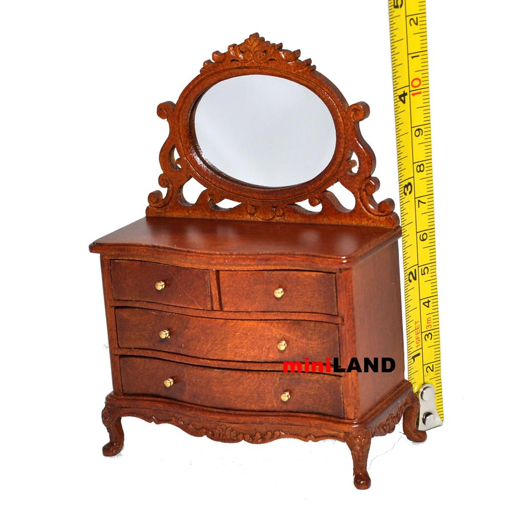 vanity table dresser bedroom 1 12 dollhouse miniature drawers mirror wood wn. Black Bedroom Furniture Sets. Home Design Ideas