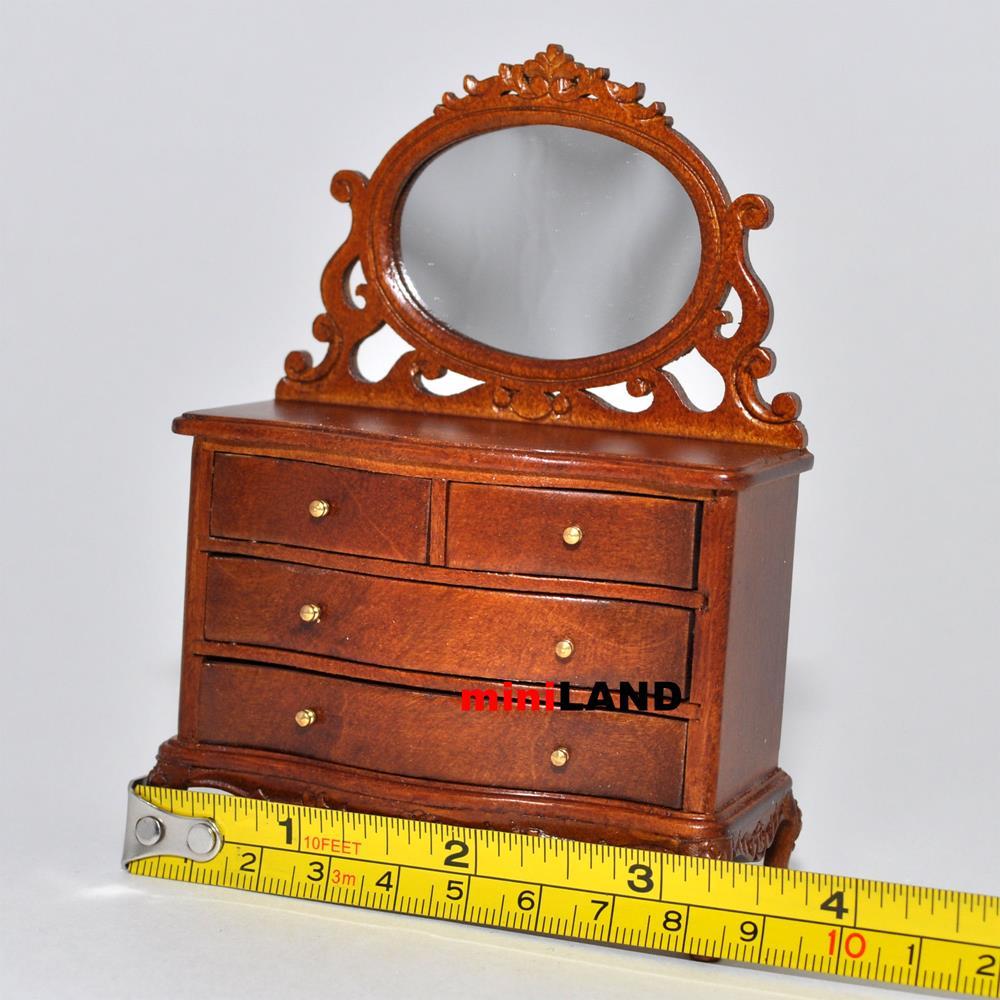 Vanity Table Dresser Bedroom 1 12 Dollhouse Miniature Drawers Mirror Wood Wn