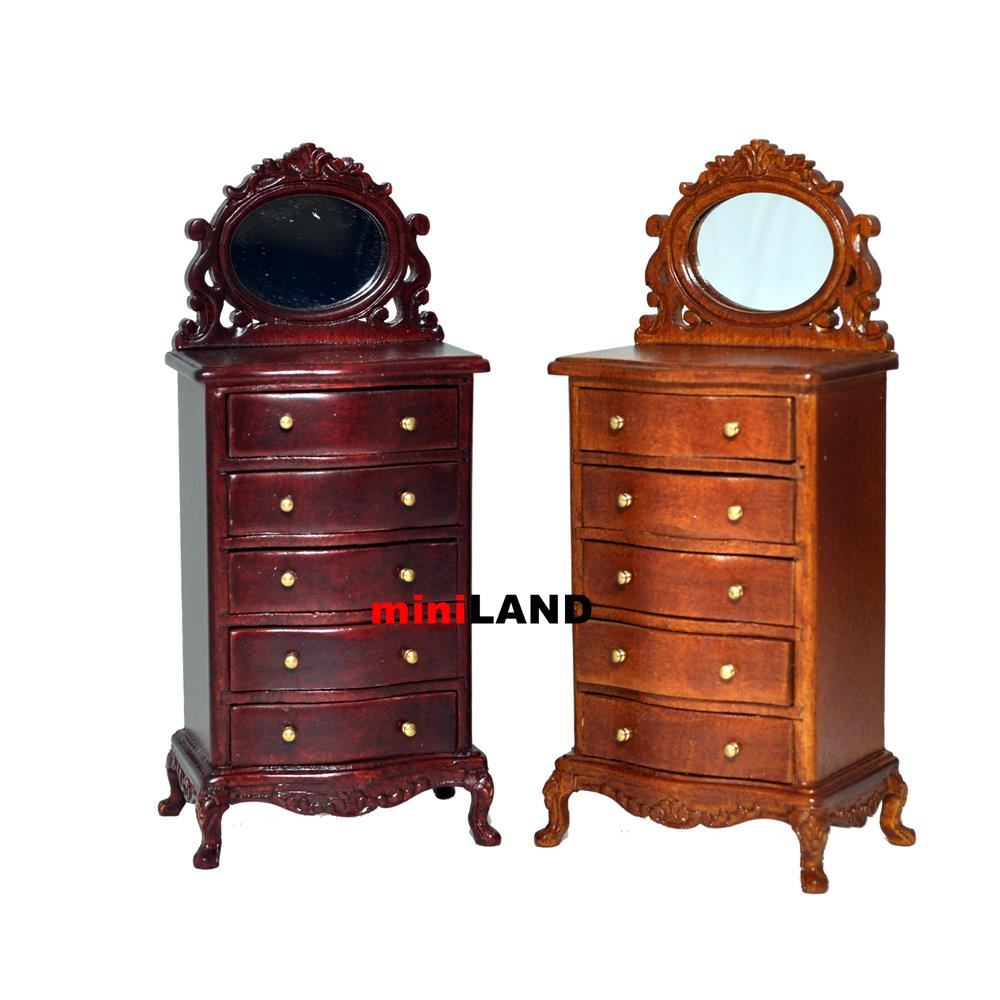 Tall vanity table dresser 1 12 dollhouse miniature drawers for Vanity table with drawers no mirror