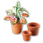 1.430/8 Terra-cotta Pots and Plant Reutter Porzellan Dollhouse miniature 1:12