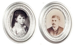 Small Silver Oval Frames 2pcs dollhouse miniature 1:12