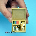 Artist's paint set with brushes and paint dollhouse miniature 1:12 scale