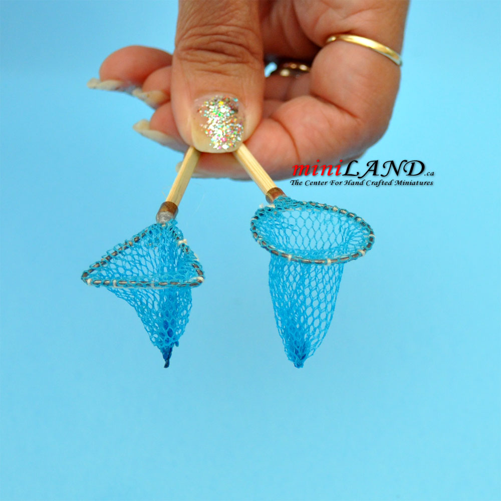 Circular And Triangular Hand Held Nets Fish Dollhouse