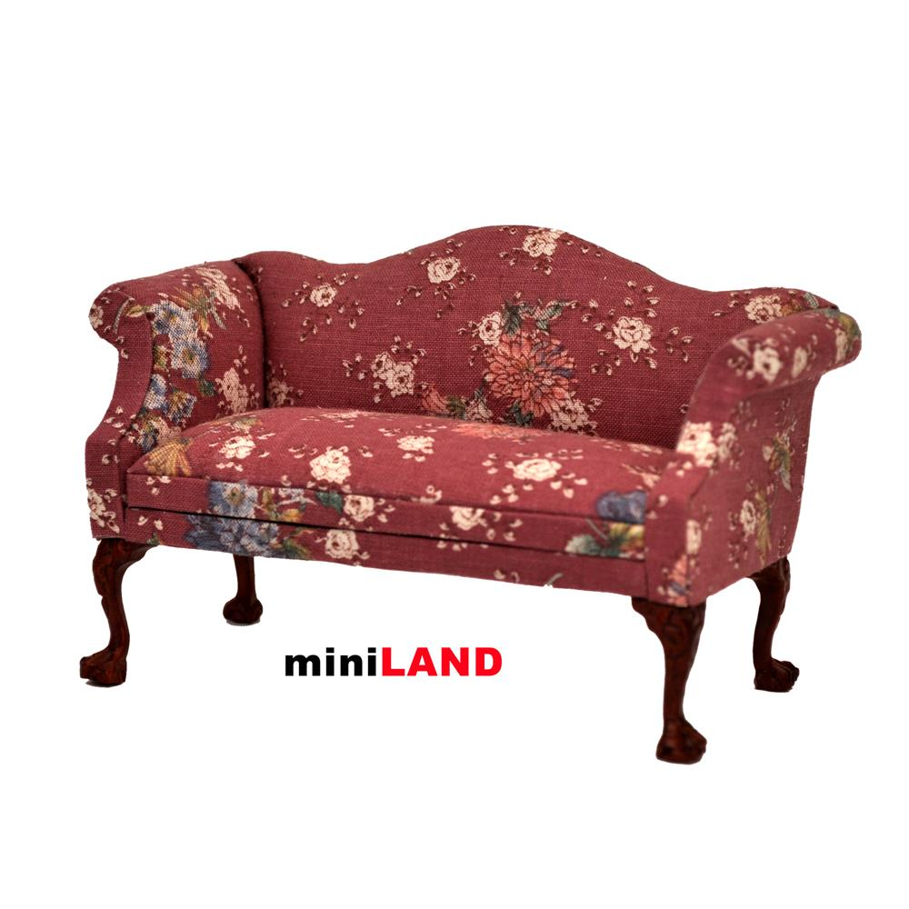 Queen Anne Living Room Furniture Queen Anne Love Seat Sofa For 112 Scale Dollhouse Miniature Wood