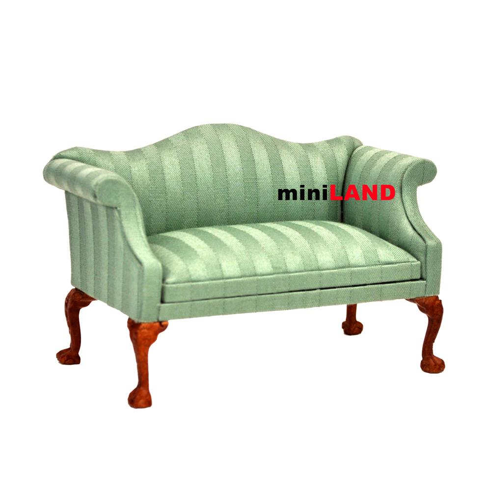 Queen Anne Love Seat Sofa For 1 12 Scale Dollhouse Miniature Wood Green