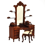 Fine Quality Dresser with hats stands ans stool walnut