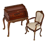 Quality Desk + Chair Dollhouse miniature 1:12 walnut wood 2pcs