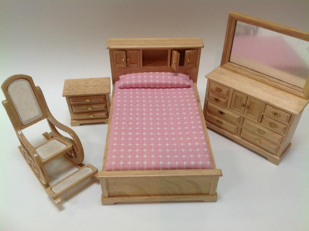 4 Piece Economic Bedroom Set For Dollhouse 1 12 Scale