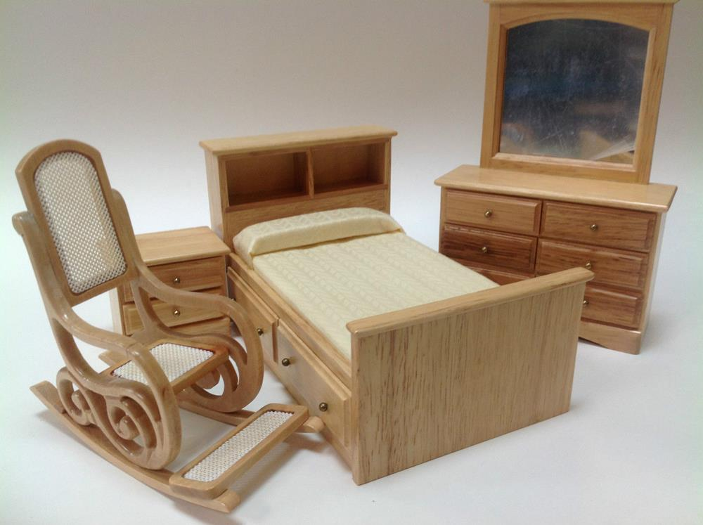 furniture bedroom 4 piece economic bedroom set for dollhouse