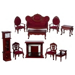 Economic LIVING ROOM SET 10pcs MH T0014 1:12 scale