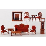 Economic LIVING ROOM SET 10pcs WN  T0014 1:12 scale