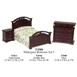 Economic BEDROOM SET 3pcs MAHOGANY T3508 1:12 scale