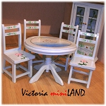 Economy Set 6pcs blue Dining Room 1:12 scale dollhouses miniature