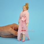 Lady in Pink Bathrobe Porcelain doll  5.5