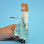 Female in Blue Skirt Porcelain doll  5.5