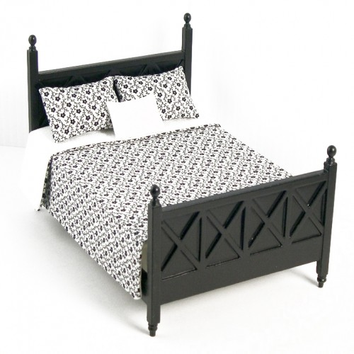 Ashley Black Bed A114 For Dollhouse Miniature 1 12 Scale