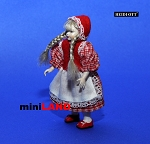 XC010 Heidi Ott Dolls House Doll, Young Girl in a Red Dress