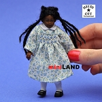 XC017 Heidi Ott Dolls House Doll, Young Brown Girl in blue