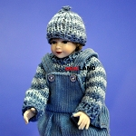 XC025 Heidi Ott Dolls House Doll, Young Boy in Blue Dungarees