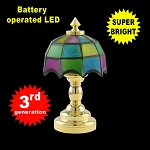 Colored brass Tiffany lamp LED Super bright with On/off switch