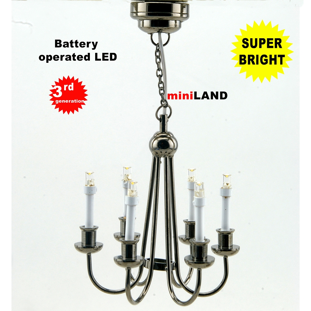 Black Colonial 6 Arm Chandelier LED Super Bright With On