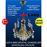 Crystal nostalgia chandeliers, 6 arms, LED Super bright with On/off switch