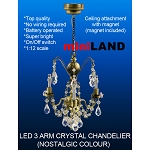 Crystal nostalgia chandeliers, 3 arms, LED Super bright with On/off switch