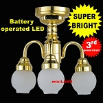3 Arm brass chandelier LED Super bright with On/off switch