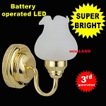 Sgl brass Frost Tulip Wall Sconce LED Super bright with On/off switch