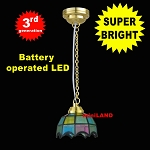 Colored Tiffany hanging lamp LED Super bright with On/off switch