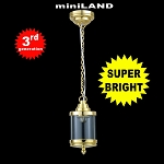 Brass birdcage hanging lamp LED Super bright with On/off switch
