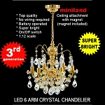 Crystal gold chandeliers, 6 arms, LED Super bright with On/off switch