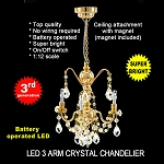 Crystal gold chandeliers, 3 arms, LED Super bright with On/off switch