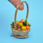 Colorful fruit basket in basket with long handle dollhouse miniature