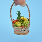 Colourful fruit basket in basket with  handle dollhouse miniature