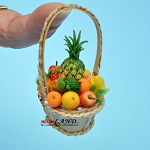 Fruit basket in basket with  handle dollhouse miniature