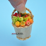 Beautiful fruit basket with short handle dollhouse miniature