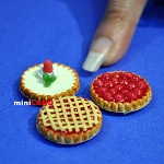 3 pies for 1:12 dollhouse miniature handmade food polymer clay