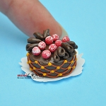 Fancy chocolate cake with frosted cherries Dollhouse miniatures 1:12