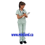 Cathy - Resin Doll for 1:12 Dollhouses woman  nurse in scrubs