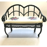 Green Garden Bench 1.812/5  miniature dollhouse furniture 1/12 scale metal green